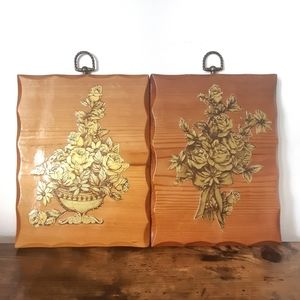 Set of 2 Vintage 1970s Wood and Gold Floral Wall Hangings